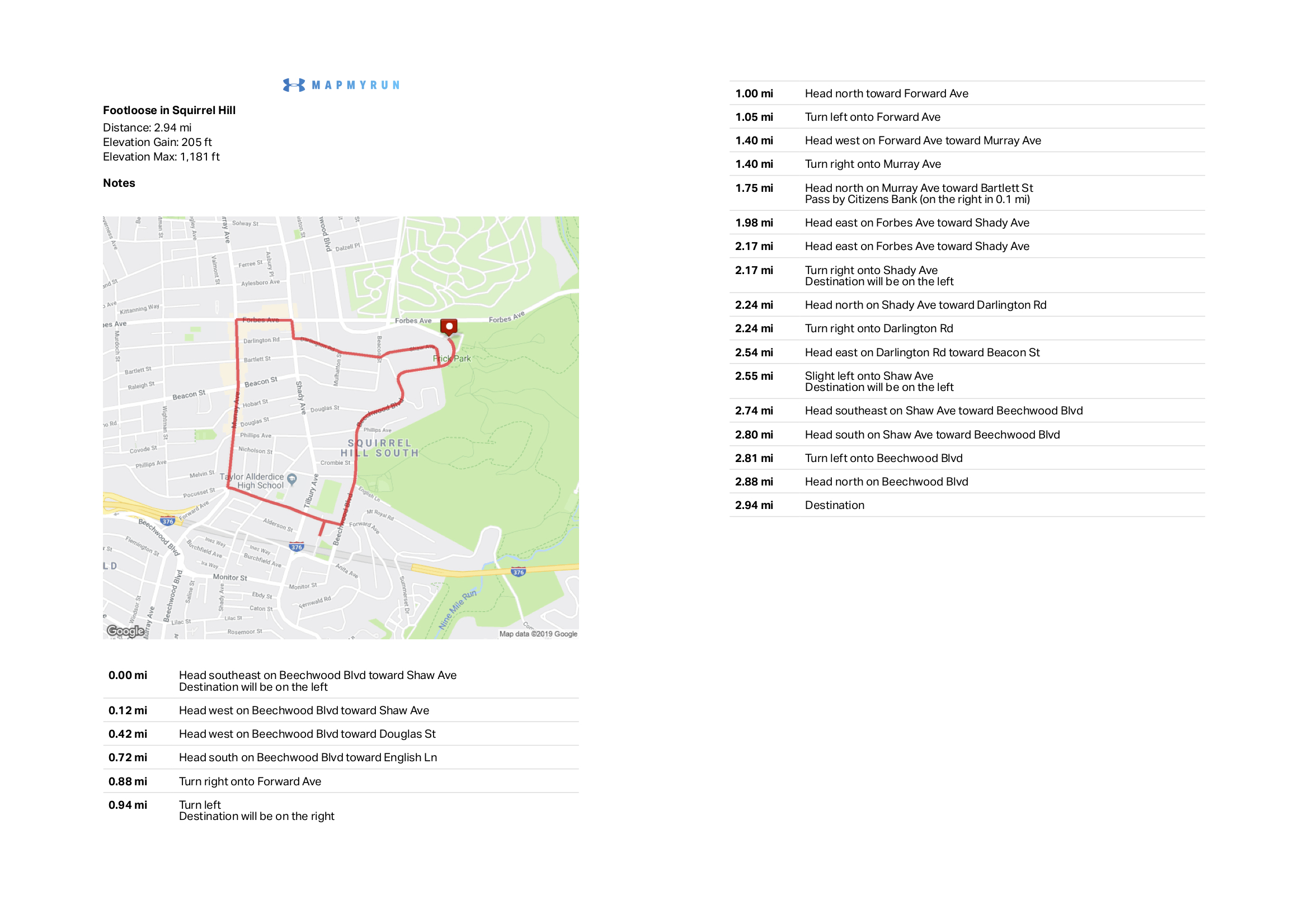 """Map and walking directions for """"Footloose in Squirrel Hill"""" route"""