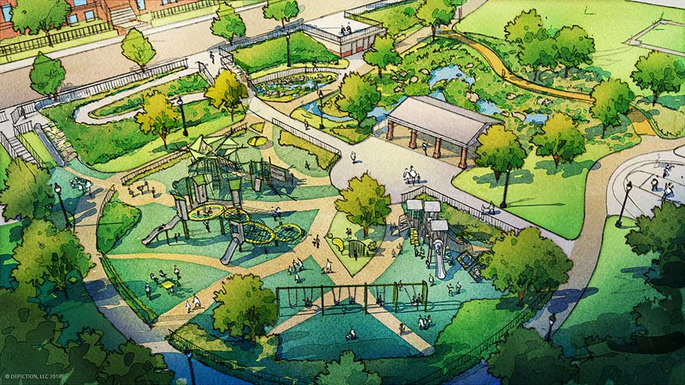 Drawing of new Wightman Park design, including playground and green infrastructure